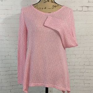 CHELSEA & THEODORE Pink and White Sweater